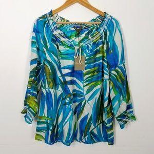 Tommy Bahama Blue Leaf Print Silk Blend Top Large